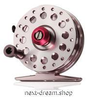 新品 フライリール 釣り道具 お洒落 フィッシング スプール ドラグ  シルバー×赤 6.3x6.3x1.9cm 海老 魚 m01987