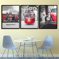お洒落な壁掛けアートパネル 枠付き3点セット / 各15×20cm クラシックカー 写真 赤 絵画 ファブリックパネル m03464