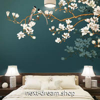 3D 壁紙 1ピース 1㎡ 和風 桜の木 ほととぎす 深緑背景 インテリア 部屋装飾 耐水 防湿 防音 h02981