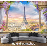 3D 壁紙 1ピース 1㎡ ヨーロッパの街並み エッフェル塔 高台からの景色 寝室 リビング 客室 m03334