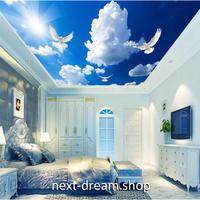 【カスタム壁紙】 青空デザイン 太陽 鳩 雲 ウォールペーパー 1単位1㎡ 天井用 部屋 リビング DIY m03618