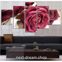 【お洒落な壁掛けアートパネル】 5点セット レッドローズ 植物 自然 写真 絵画 ファブリックパネル インテリア m04055