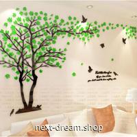 【ウォールステッカー】 3D 壁紙 木 桜 Sサイズ 100×183cm グリーン×ブラウン アクリル インテリア 張付簡単 シールタイプ m03539