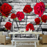 3D 壁紙 1ピース 1㎡ 北欧モダン 赤い薔薇 レンガ インテリア 部屋 寝室 リビング 防湿 防音 h03058