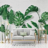 3D 壁紙 1ピース 1㎡ 北欧モダン 白レンガ モンステラ 植物 葉 緑 リビング 寝室 客室 m03358