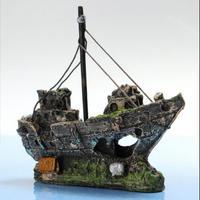 アクアリウムの装飾オーナメント 駆逐艦 水槽 オブジェ 魚の隠れ家 k00002