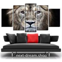 【お洒落な壁掛けアートパネル】 枠付き5点セット ライオン 動物 獅子 ファブリックパネル インテリア m04574
