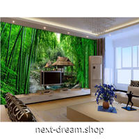 3D壁紙 1ピース 1㎡ 自然風景 竹の森 和 お堂 インテリア 寝室 リビング ショップ 耐水 防カビ m04376