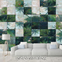 3D 壁紙 1ピース 1㎡ モザイクタイル 植物 レトロ DIY リフォーム インテリア 部屋 寝室 防湿 防音 h03250