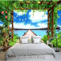 カスタム3D壁紙 1ピース 1㎡ 自然風景 リゾート 植物 水上コテージ クロス張替 おうち時間充実 おしゃれ キッチン 寝室 リビング m03486