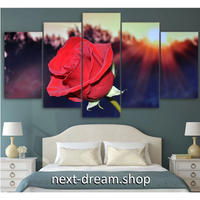 【お洒落な壁掛けアートパネル】 5点セット レッドローズ 薔薇 写真 花 絵画 ファブリックパネル インテリア m04066