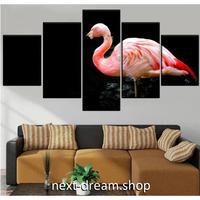 【お洒落な壁掛けアートパネル】 枠付き5点セット ピンクフラミンゴ 動物写真 ファブリックパネル インテリア m04595