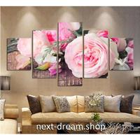 【お洒落な壁掛けアートパネル】 5点セット ピンクローズ 花 植物 自然景色 写真 絵画 ファブリックパネル インテリア m04064