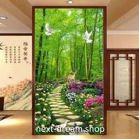 3D 壁紙 玄関用 1ピース 1㎡ 自然風景 竹林 散歩道 花 インテリア 装飾 部屋 耐水 防湿 耐衝撃 騒音吸収 h02756