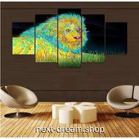 【お洒落な壁掛けアートパネル】 枠付き5点セット ライオン 動物 絵画アート ファブリックパネル インテリア m04577