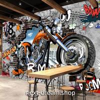 3D 壁紙 1ピース 1㎡ ウォールアート 壁画 オートバイ インテリア 装飾 寝室 リビング 耐水 防湿 h02471