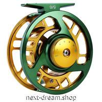 新品 フライリール 釣り道具 お洒落 フィッシング スプール ドラグ  緑×ゴールド 5/6 魚 ダイカスト m01989