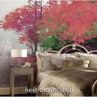 3D 壁紙 1ピース 1㎡ 赤色 自然風景 紅葉 哀愁 絵画デザイン おしゃれ キッチン 寝室 客室 m03382