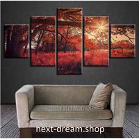 【お洒落な壁掛けアートパネル】 小さめサイズ5点セット 紅葉の森 レッドツリー ファブリックパネル DIY インテリア m04892