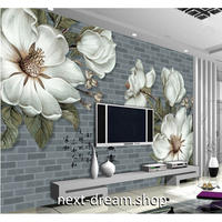 カスタム3D壁紙 1ピース 1㎡ ヴィンテージ レンガ 花 キッチン 寝室 リビング クロス張替 リメイクシート m04532