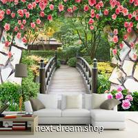3D 壁紙 1ピース 1㎡ ローズガーデン 薔薇 庭園 花 インテリア 装飾 寝室 リビング h02268