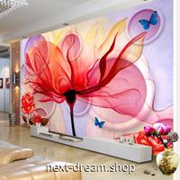 3D 壁紙 1ピース 1㎡ モダンアート 赤い花 蝶々 DIY リフォーム インテリア 部屋 寝室 防湿 防音 h03275