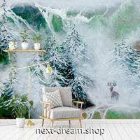3D 壁紙 1ピース 1㎡ 絵画デザイン 雪の森 トナカイ インテリア 装飾 寝室 リビング 耐水 防カビ h02427