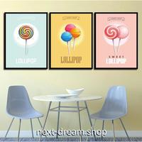 お洒落な壁掛けアートパネル 枠付き3点セット / 各15×20cm キャンディ ロリポップ ポスター 絵画 ファブリックパネル m03389
