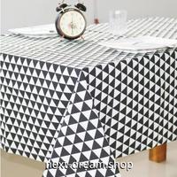 テーブルクロス 130×180cm 4人掛けテーブル用 三角格子柄 白黒 お茶会 おしゃれな食卓 汚れや傷みの防止 m04285