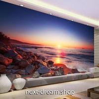 3D 壁紙 1ピース 1㎡ 自然風景 サンセットビーチ 岩場海岸 インテリア 装飾 寝室 リビング 耐水 防カビ h02436