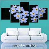 【お洒落な壁掛けアートパネル】 5点セット 青紫の花 フラワーフォト 絵画 ファブリックパネル インテリア m04070