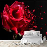カスタム3D壁紙 1ピース 1㎡ 赤い薔薇 レッドローズ フラワー おうち時間充実 おしゃれ キッチン 寝室 リビング m03503