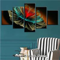 【お洒落な壁掛けアートパネル】 5点セット レッドイエローグリーンフラワー アート 絵画 ファブリックパネル インテリア m04099