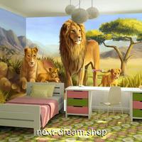 3D 壁紙 1ピース 1㎡ 絵画 サバンナ ライオン インテリア 装飾 寝室 リビング 耐水 防湿 h02602