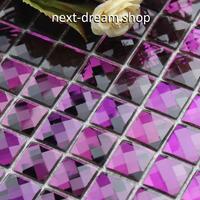 3D壁紙 30×30cm 11枚セット ミラーガラス 紫 パープル DIY リフォーム インテリア 部屋/浴室/トイレにも h04501