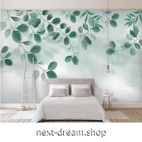 【カスタム3D壁紙】 1ピース 1m2 植物 葉 カフェ風 アート 緑 キャンバス地 クロス張替 店 部屋 m05352