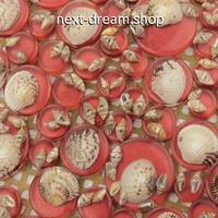 3D壁紙 30×30cm タイルデザイン 貝殻 シェル 赤 DIY リフォーム インテリア キッチン/浴室/トイレにも 防水 防カビ h04355
