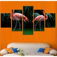 【お洒落な壁掛けアートパネル】 枠付き5点セット ピンクフラミンゴ 植物 ファブリックパネル インテリア m04590