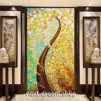 3D 壁紙 玄関用 1ピース 1㎡ 油絵 枝垂れ梅 黄色の花 インテリア 装飾 部屋 耐水 防湿 耐衝撃 騒音吸収 h02754