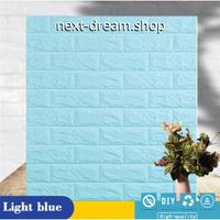 【ウォールステッカー】 壁紙 シール 70×77cm 3D レンガ 水色 ライトブルー  DIY 寝室 リビング トイレ キッチン m02489