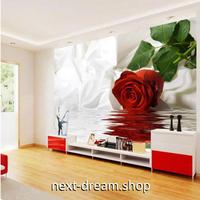 カスタム3D壁紙 1ピース 1㎡ 赤い薔薇 ローズ キッチン 寝室 リビング クロス張替 リメイクシート m04454