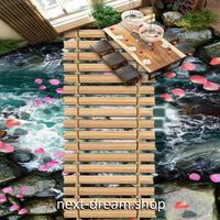3D 壁紙 1ピース 1㎡ 床用 自然風景 岩場 川 橋 DIY リフォーム インテリア 部屋 寝室 防湿 防音 h03548