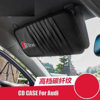 アウディ CDケース サンバイザーカバー カーボンファイバー Sline Audi A1 A3 A4 A6 A8 TT Q3 Q5 Q7 h00305