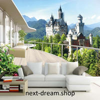 3D 壁紙 1ピース 1㎡ 自然風景 テラスからの景色 お城 ヨーロッパ インテリア 装飾 寝室 リビング h02220