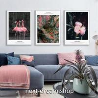 お洒落な壁掛けアートパネル3点セット (枠なし)/ 各30×40cm ピンク フラミンゴ 写真 ポスター 絵画 インテリア m03253