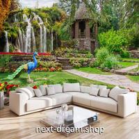 3D 壁紙 1ピース 1㎡ 自然風景 庭園の景色 孔雀 滝 インテリア 装飾 寝室 リビング 耐水 防カビ h02418