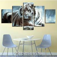 【お洒落な壁掛けアートパネル】 枠付き5点セット 虎 タイガー 動物 ファブリックパネル インテリア m04581