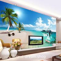 3D 壁紙 1ピース 1㎡ 自然風景 青い海 空 雲 ヤシの木 イルカ インテリア 装飾 寝室 リビング h02245