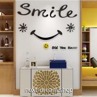 ☆インテリア3Dステッカー☆ スマイル smile にこにこ 55×42cm 壁用 アクリルシール リビング アパレル 店舗 m05607
