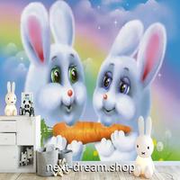 3D 壁紙 1ピース 1㎡ 子供部屋 ファンシーうさぎさん インテリア 装飾 寝室 リビング 耐水 防湿 h02477